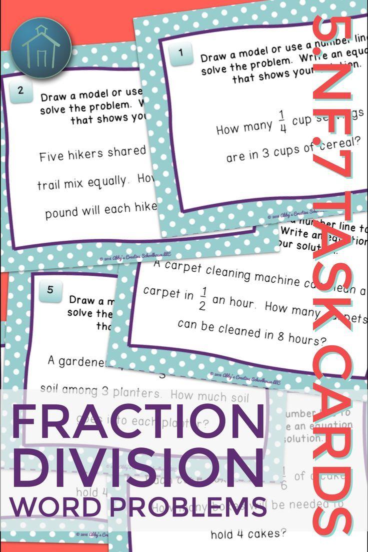 5.NF.7 Task Cards Dividing Unit Fractions Word Problems | Equation ...