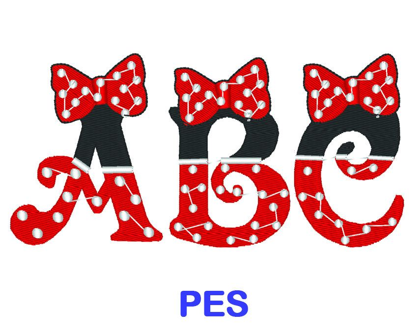 Minnie Mouse Embroidery Font Disney PES Format