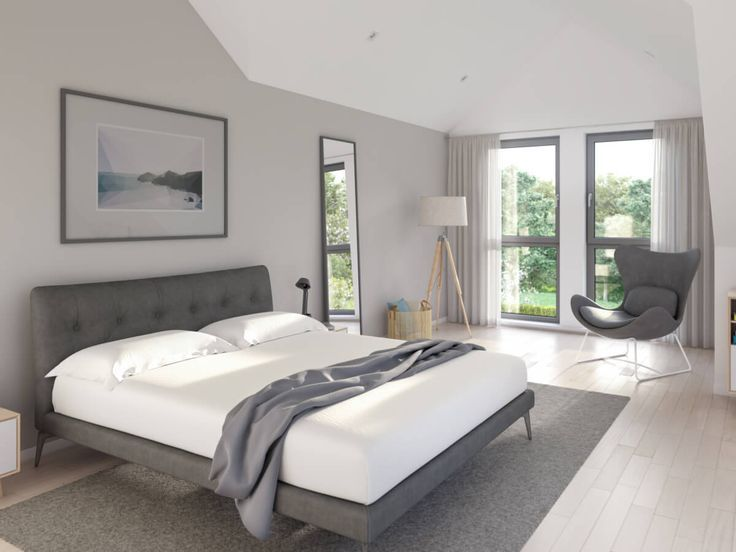 Bedroom modern gray / white with bay window & sloping roof