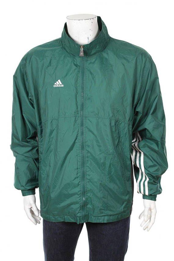 2b0b6cafcf89 Vintage Adidas Windbreaker tracksuit top jacket Green white Black Size L