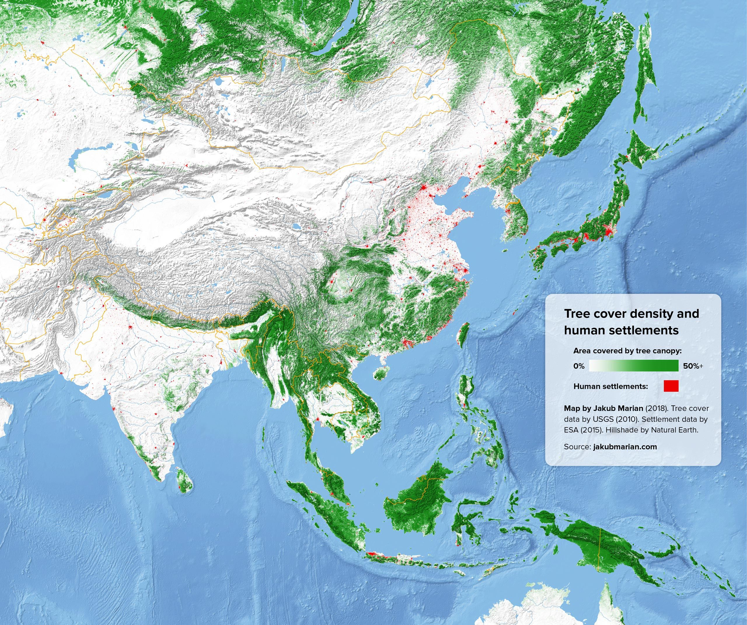 Tree Cover And Human Settlements Of South And East Asia 역사 지도 역사 교육