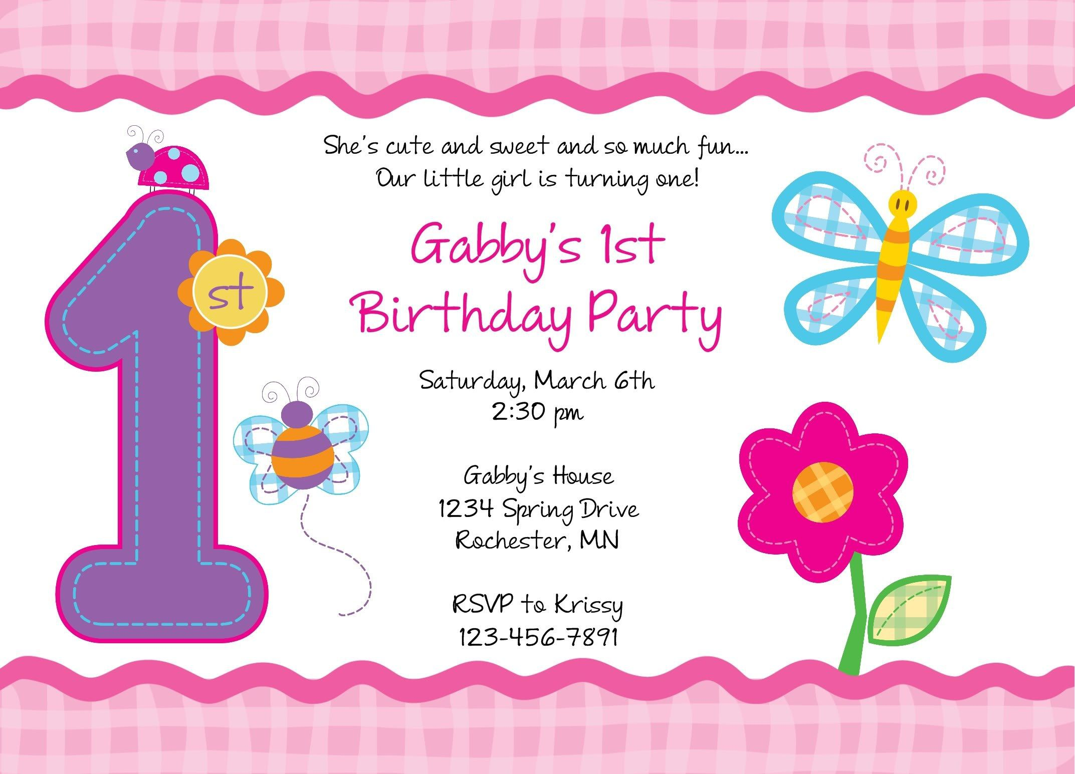 Girl 1st Birthday Invitation Sayings Please Do Not Purchasebid Unless You Have Read This Entire Listing