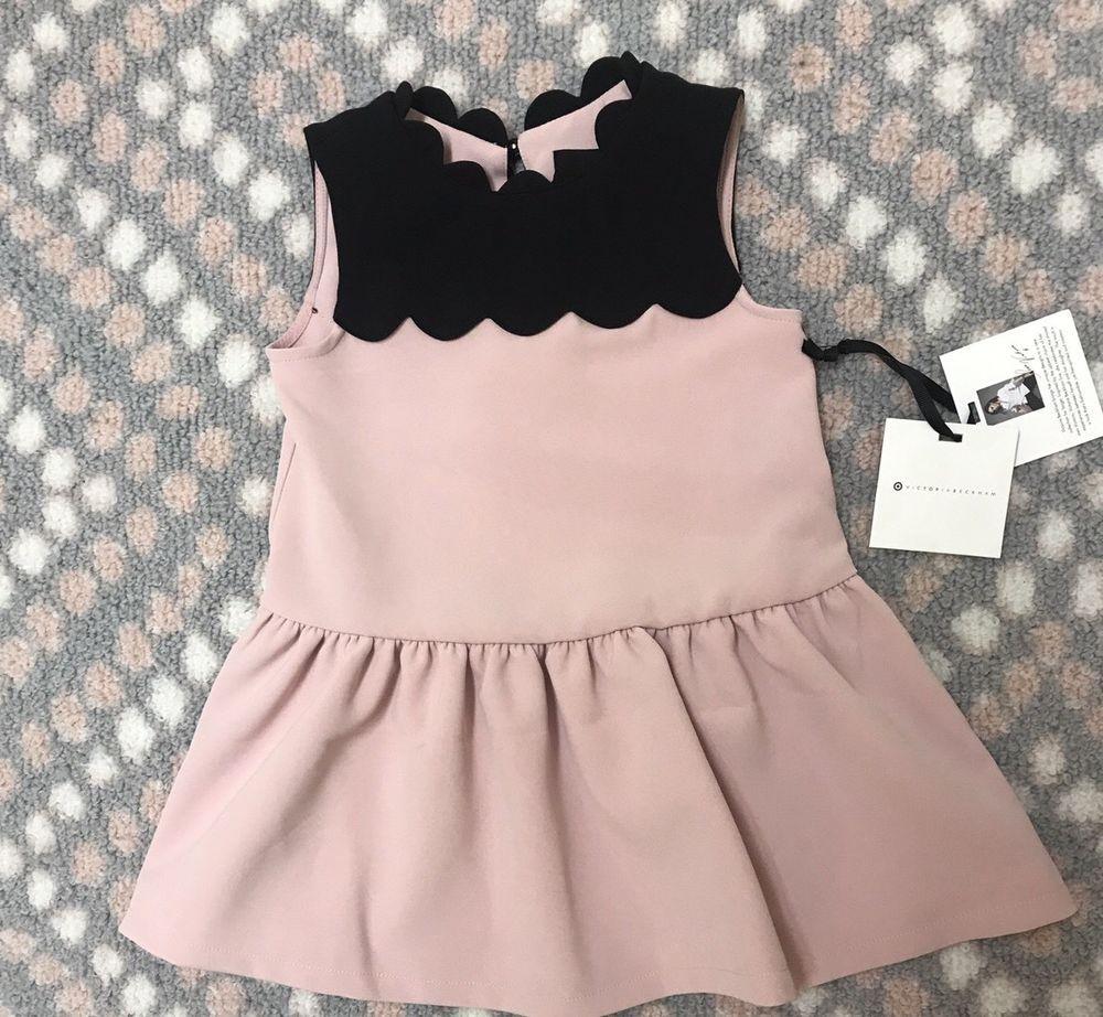 Toddler Girls Blush Drop Waist Scallop Trim Dress Victoria Beckham