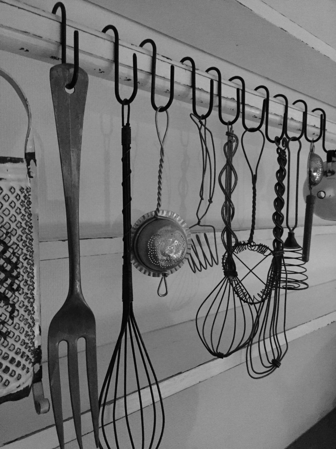 Vintage Wire Kitchen Utensils Hanging From Metal S Hooks Via