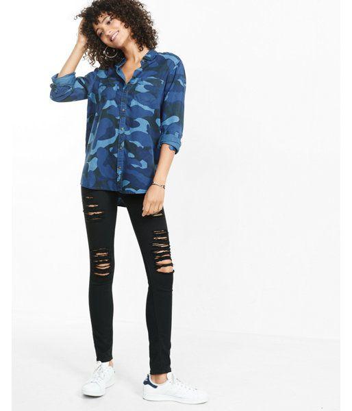 34769fb6 Blue Camouflage Silky Soft Twill Boyfriend Shirt | Products ...