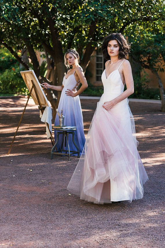 1d089c8a09e Ombre Dip Dyed Tulle Ballgown Wedding Dress - Sunset by Cleo and ...