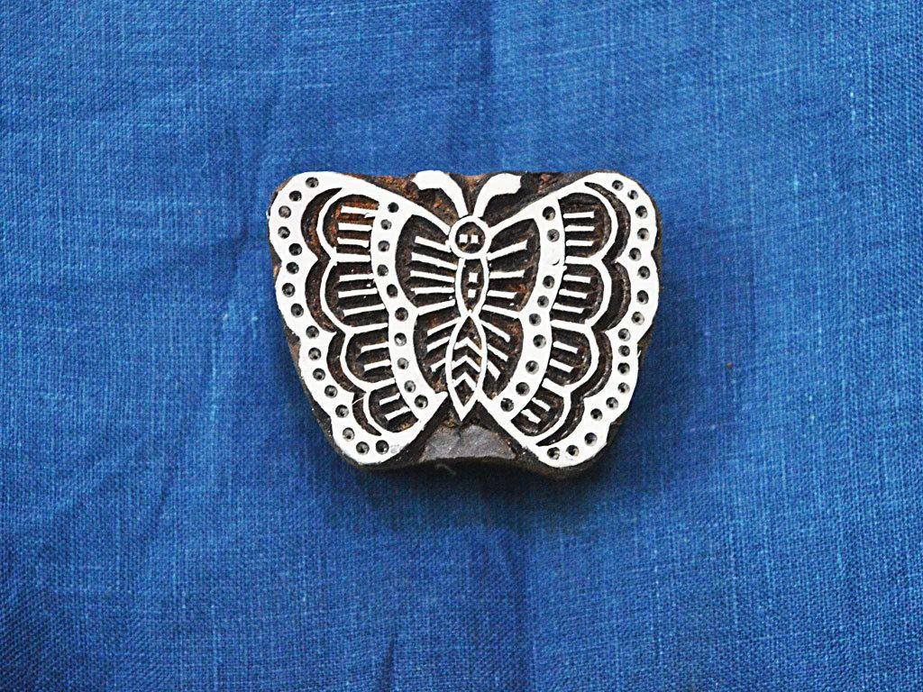 Hand Carved Indian Wood Block - Butterfly Wooden Stamp -Textile Stamps - Fabric Stamp - Textile Printing Block, Stamp Blocks #fabricstamping