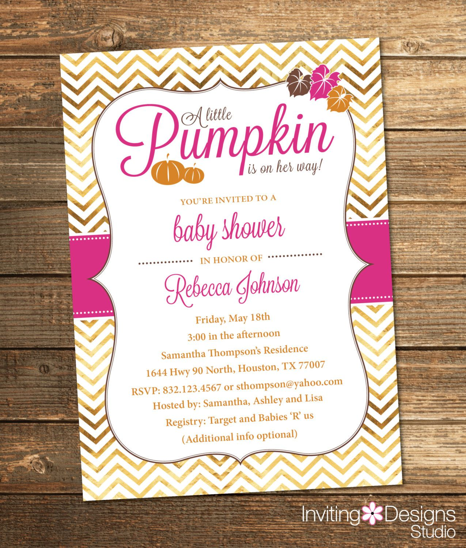 Pumpkin Baby Shower Invitation, Fall, Autumn, Orange, Pink, Gold ...