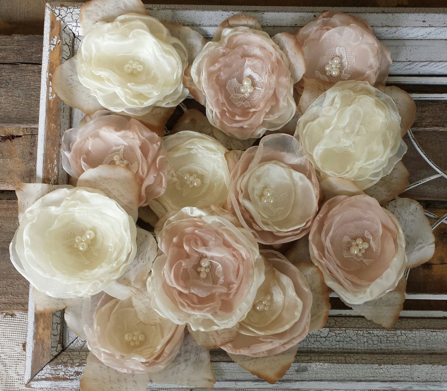 Fabric flowers are perfect for your all your wedding projects or for wedding diy fabric flowers for decorations or diy bouquet champange and ivorywedding decorwedding table decorwedding centerpiece izmirmasajfo Choice Image