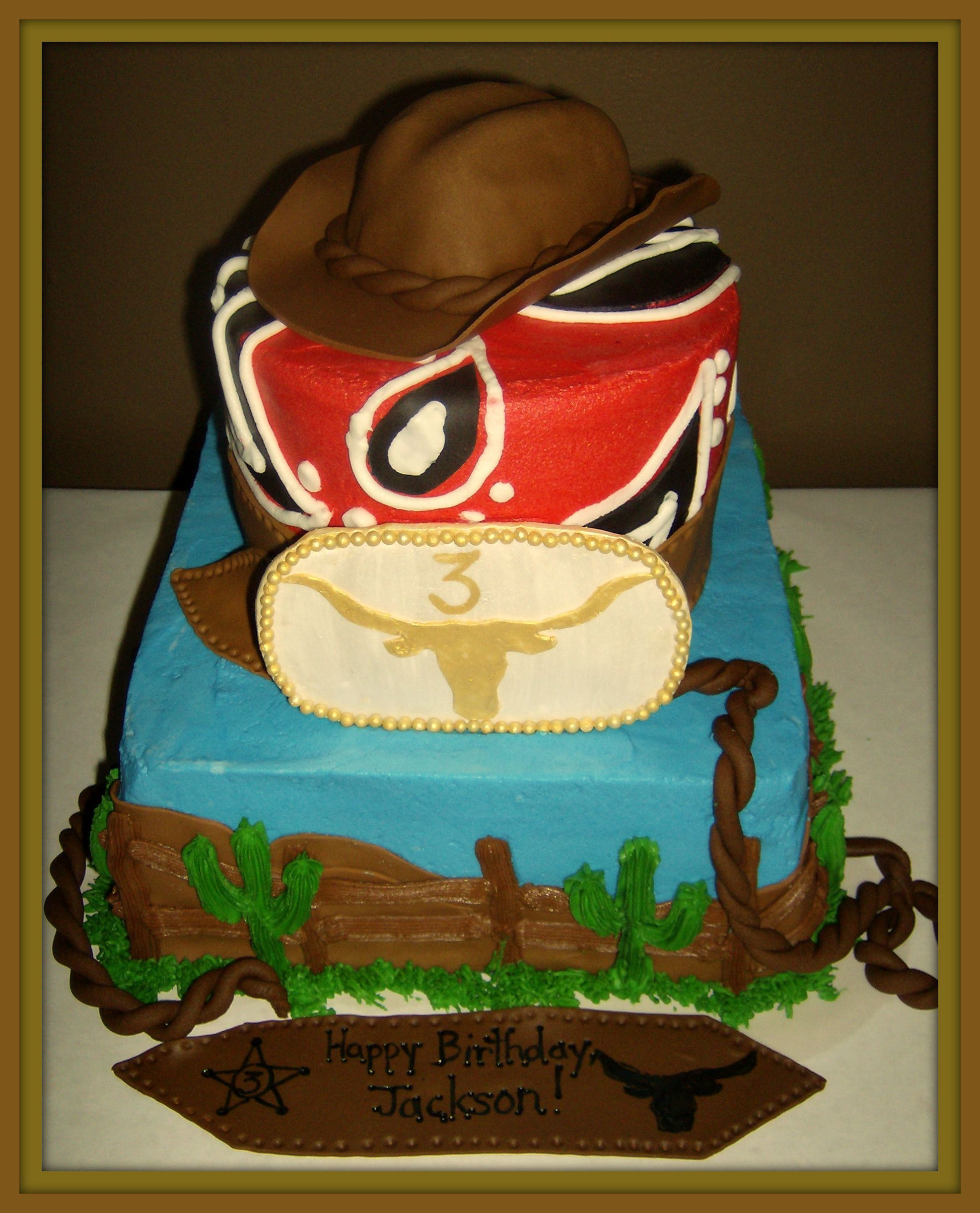 Cowboy Cake This was for a little boy turning 3 who LOVES