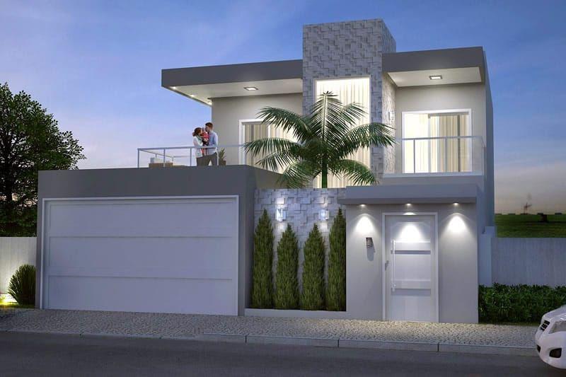 Planta de sobrado moderno com 3 quartos projeto top for Fachadas de casas modernas de 2 quartos