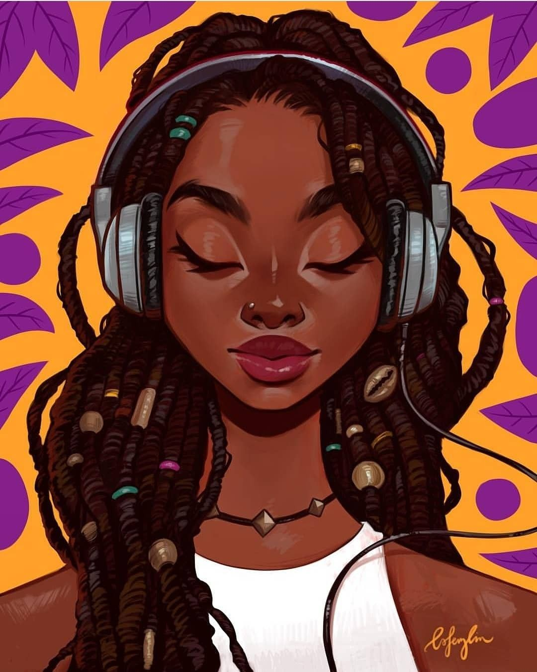 Girl listening to Music | Black girl art, Black love art, Black art
