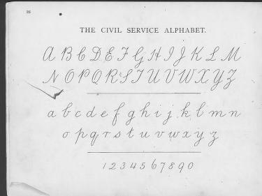 Sykes' Manual Of Penmanship. Civil Service Alphabet 1885