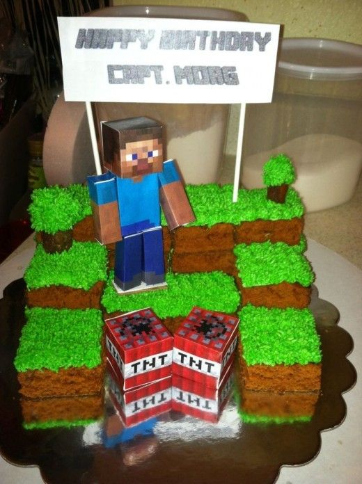 2014 Halloween minecraft creeper and steve cake party food TNT