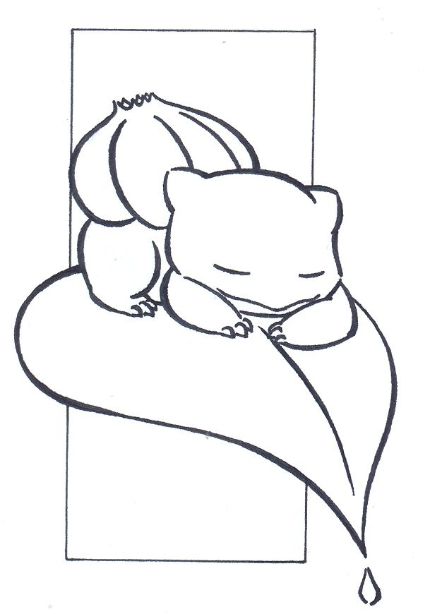 Sleeping Bulbasaur Lineart By Fluna On Deviantart Tribal Pokemon Pokemon Painting Pokemon Tattoo