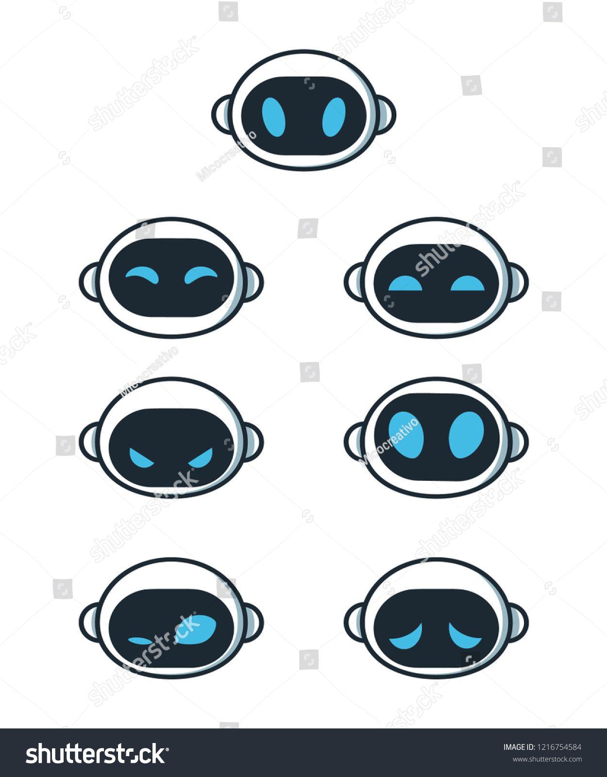 Cute Robot Bot Face Emotion Character Set Vector Modern Flat Style Cartoon Character Illustration Isolated Robot Design Sketch Robot Concept Art Robot Images