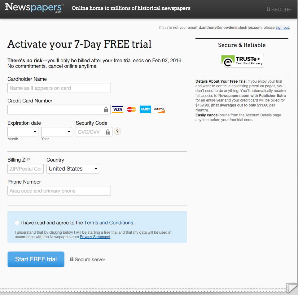 NewspapersCom  Payment Form  Payment Forms