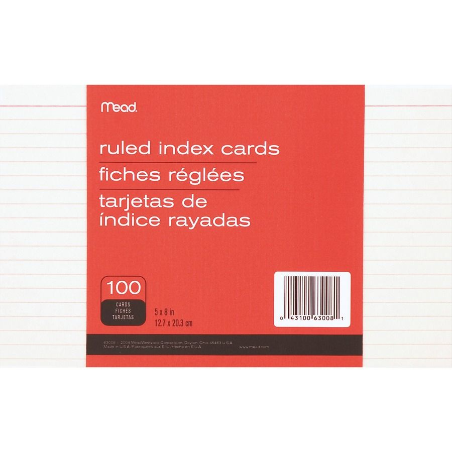 Mead 90 Lb Stock Index Cards Ruled Red Margin 90 Lb Basis Weight 5 X 8 White Paper 100 Pack Regardin Card Template Business Template Index Cards