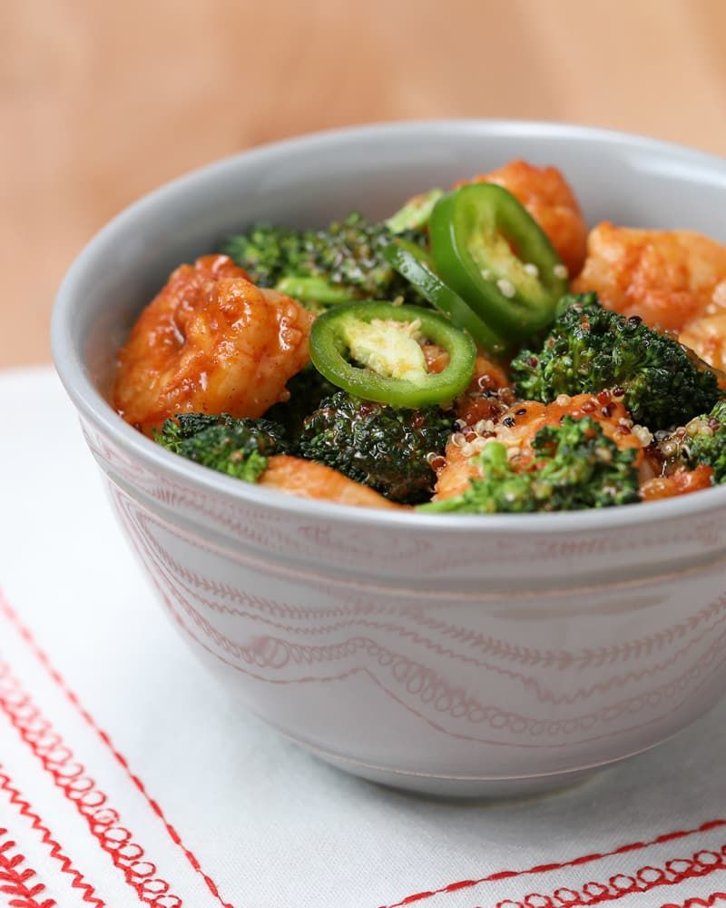 Firecracker Shrimp Quinoa Bowl #firecrackershrimp