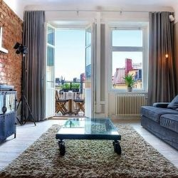 Absolutely Beautiful 1 Bedroom Apartment For Sale In Stockholm With Exposed Brick  Wall.