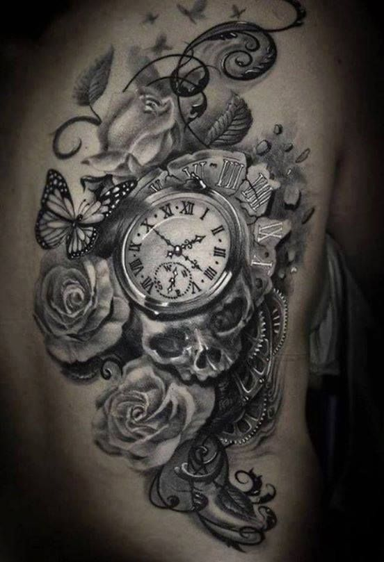 ba7c0b686 Grey Roses With Skull And Pocket Watch Tattoo On Side Rib | tattoos ...