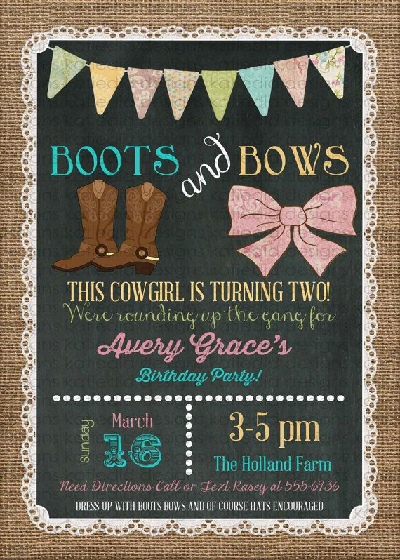 Burlap lace boots and bows little girl birthday cowgirl birthday burlap lace boots and bows little girl birthday cowgirl birthday invitation 1st birthday chalkboard chic invite 227 katiedid designs filmwisefo Images