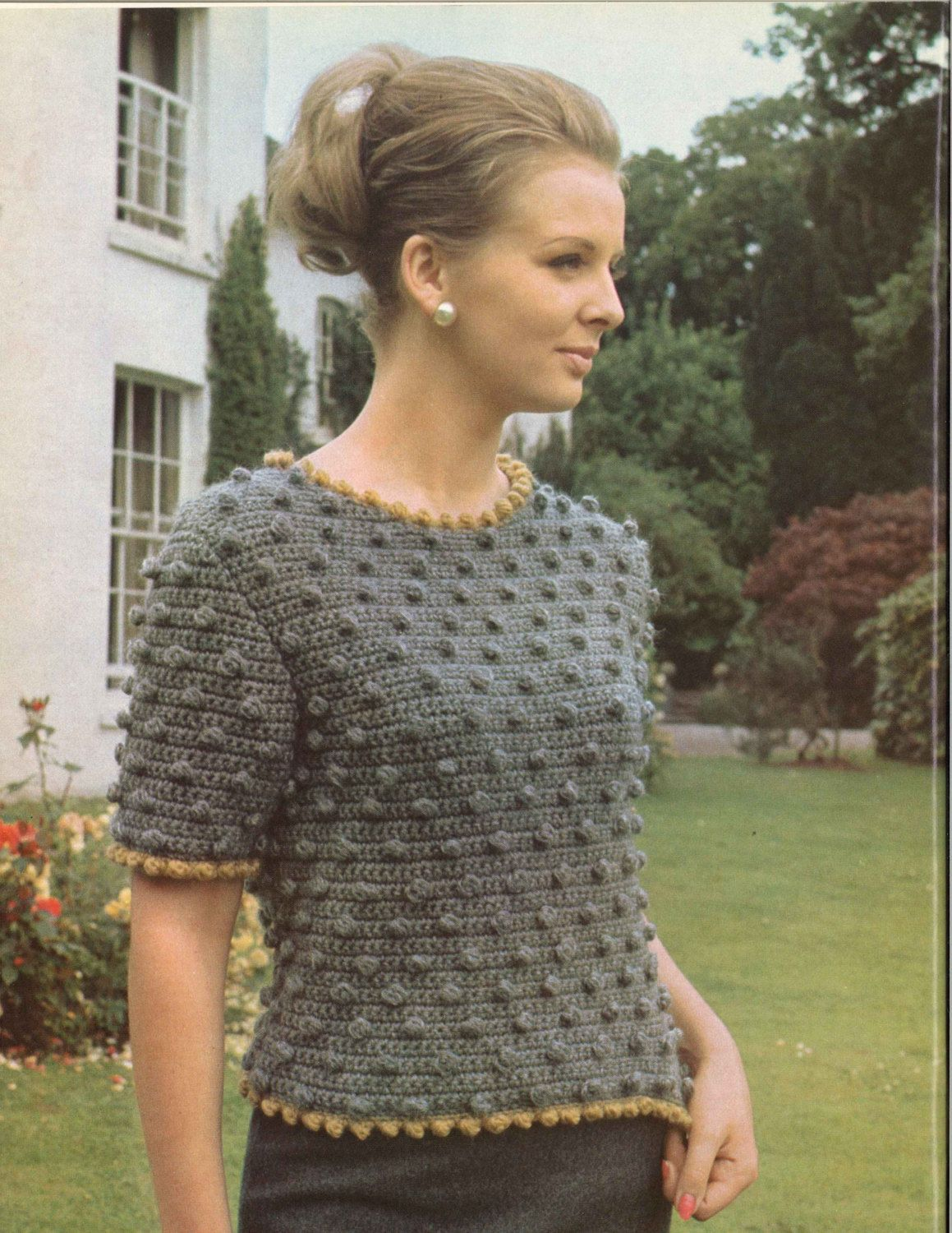 Grey Gardens • 1960s Crochet Pullover Sweater Bobble Dot Dots Dotted ...