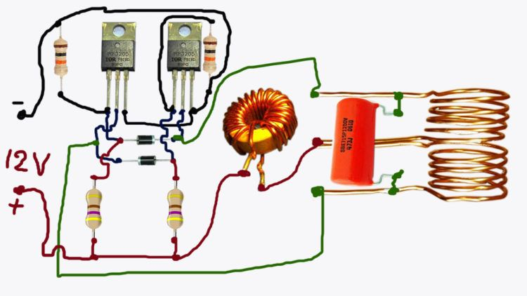 induction       heater    in 12V circuit    diagram      electronics in