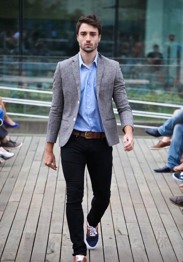 Light Blue Shirt Grey Jacket Moda Masculina Casual Estilo Masculino Moda Masculina