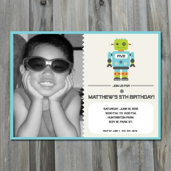 Robot Birthday Invitation - DIY Printable Invitation
