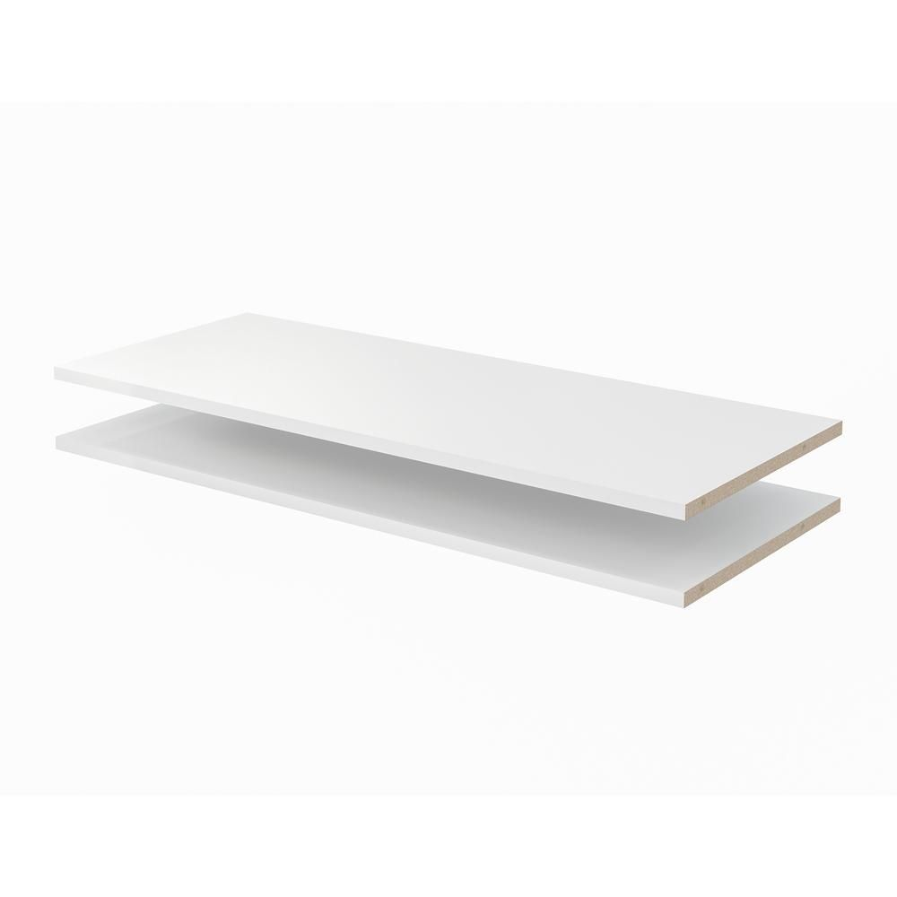 Closet Evolution 35 In X 14 In Classic White Wood Shelves 2 Pack Wh5 The Home Depot In 2020 White Wood Shelves Wood Shelves White Wood