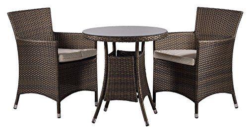 Savannah 2 Seat / Chairs Rattan Garden furniture set Round Glass