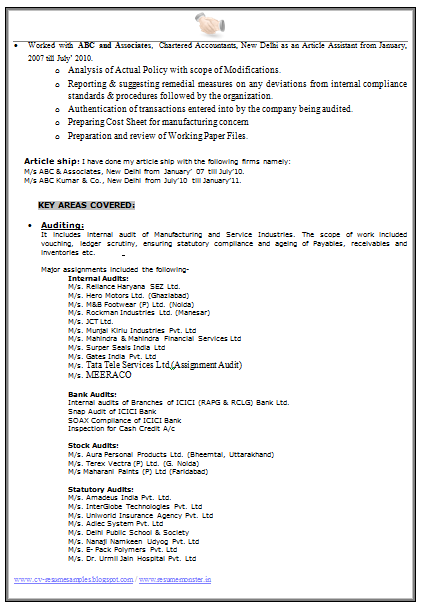 Experience Resume Formats (Page 2)