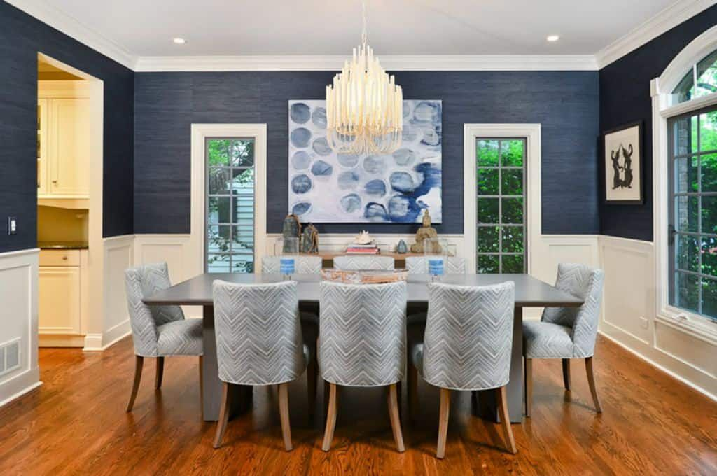 Blue And White Wallpaper Dining Room, Navy Grasscloth Wallpaper Dining Room