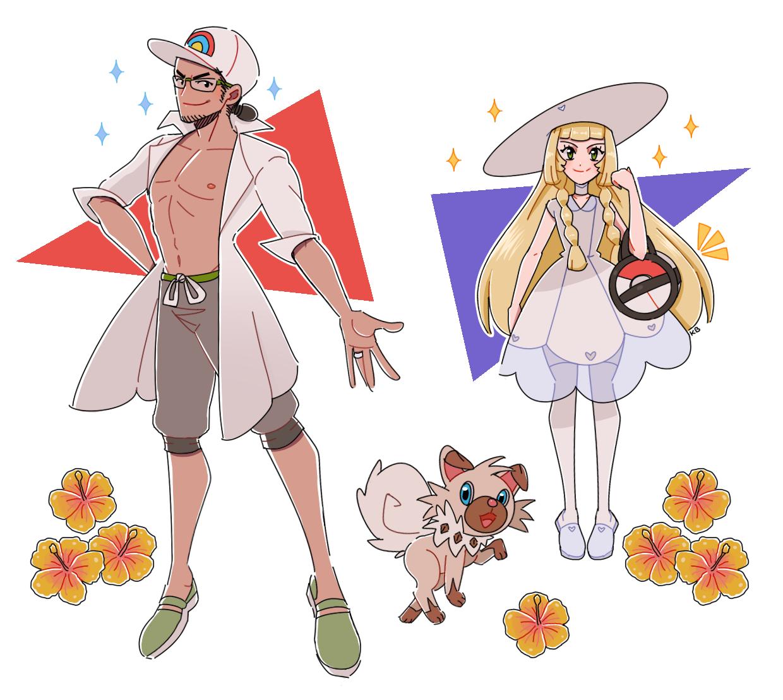 Professor Kukui, Rockruff, and Lillie