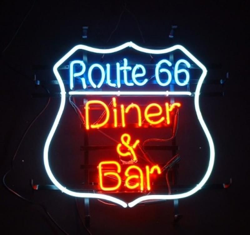 enseigne lumineuse n on route 66 diner bar 51 x 51 cm plus d 39 infos retro vintage ads. Black Bedroom Furniture Sets. Home Design Ideas