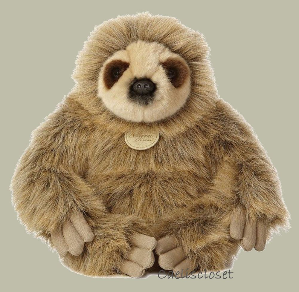 "Miyoni Plush Three Toed SLOTH by Aurora 12"" Stuffed Animal"