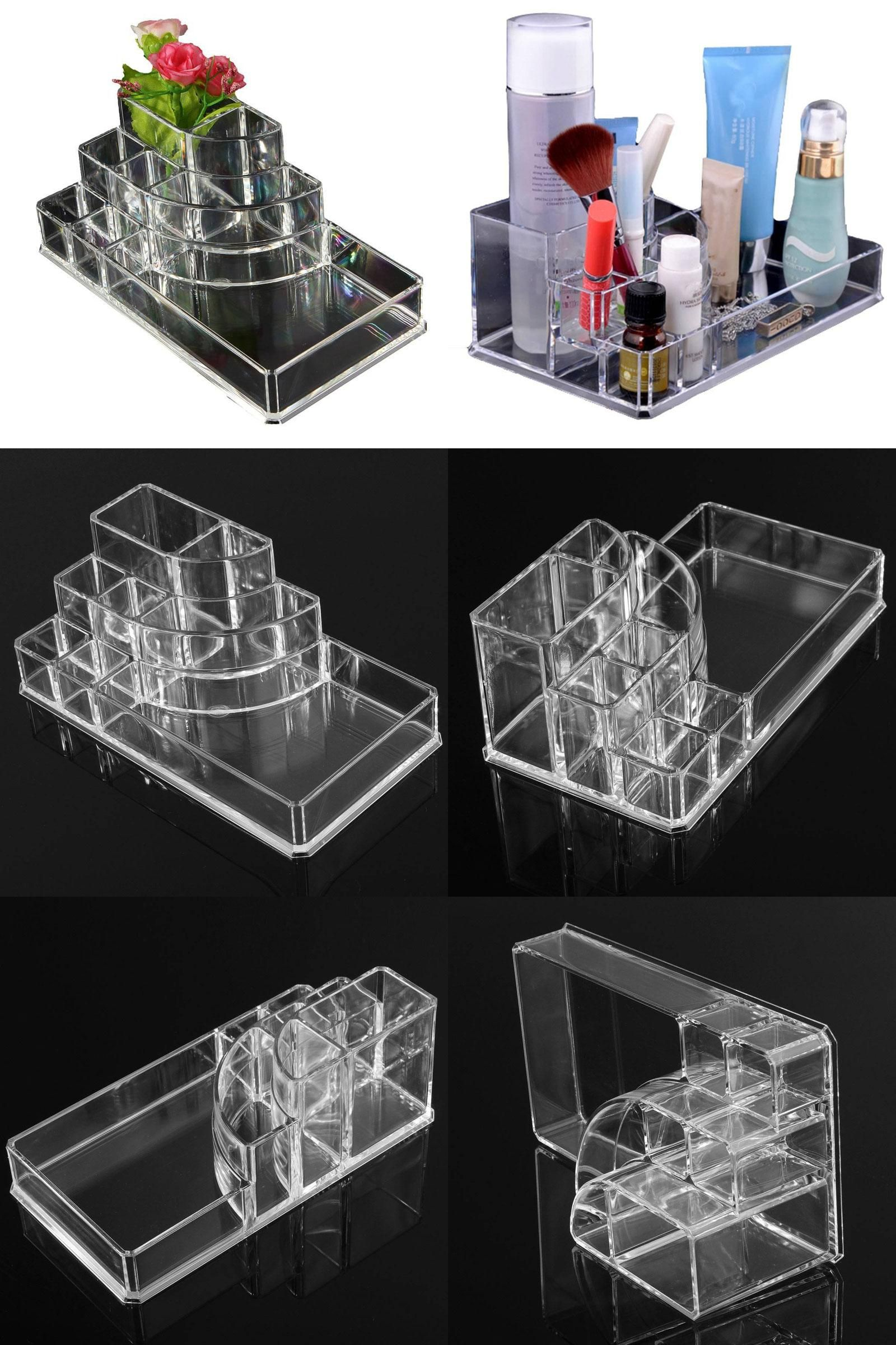 [Visit To Buy] Acrylic Cosmetic Organizer Lipstick Holder Display Stand  Clear Makeup Case Makeup
