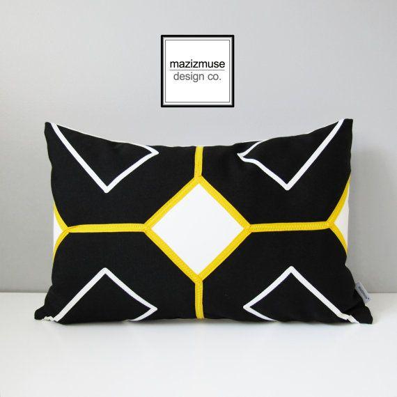 Schwarz weiß außen Kissenbezug moderne gelb geometrische