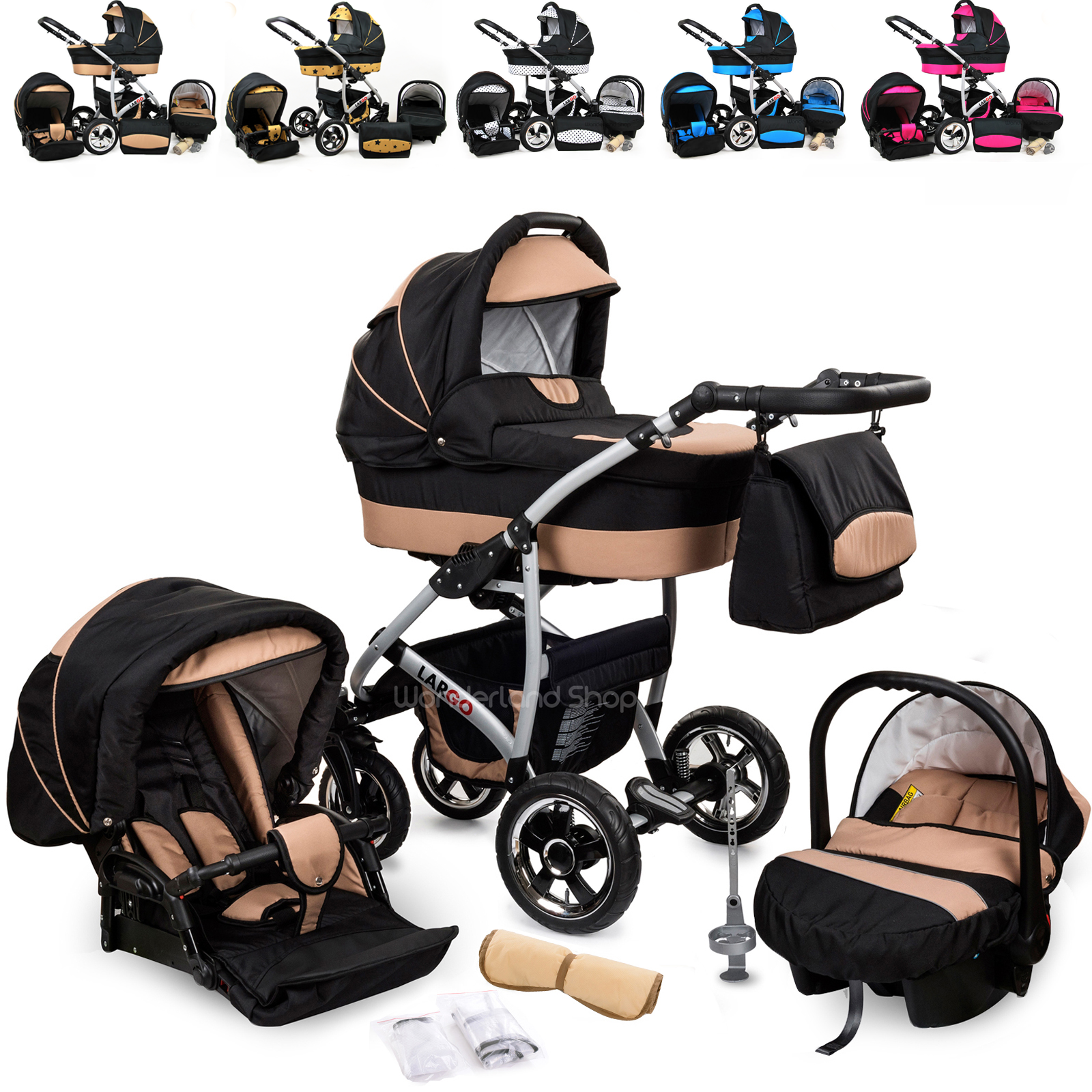 Baby Pram Buggy Newborn Car Seat 3 in 1 Travel System