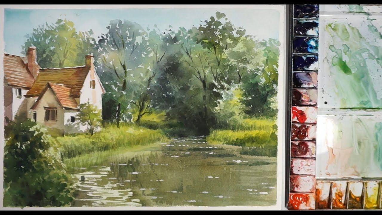 The House On The Bank Of Quiet Lake Watercolor Landscape