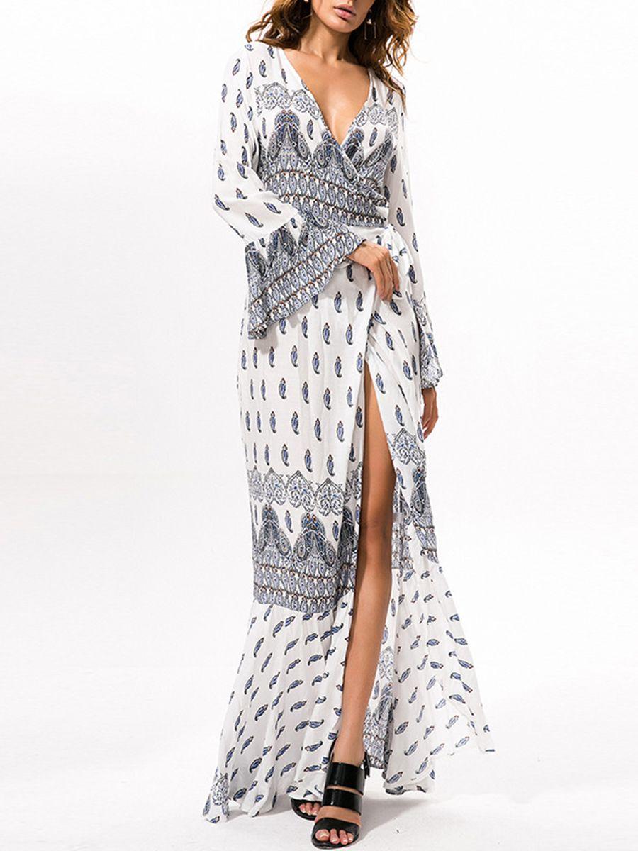 537363ce51 Mermaid Bohemian Chiffon Bell Sleeve Deep V-Neck Maxi Dress