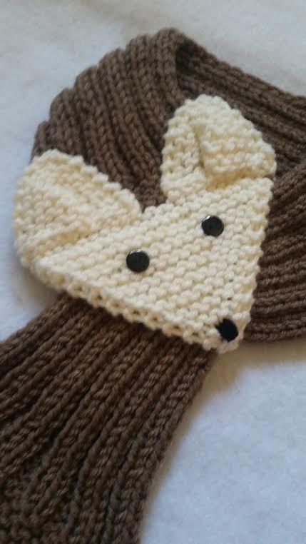 KIDS or ADULT Fox Scarf Hand Knit Scarf / neck warmer Cafe Latte ...