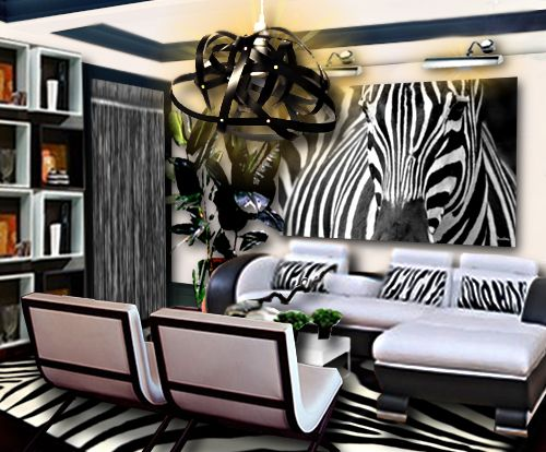 un salon noir et blanc inspiration z bre african decor pinterest african interior house. Black Bedroom Furniture Sets. Home Design Ideas