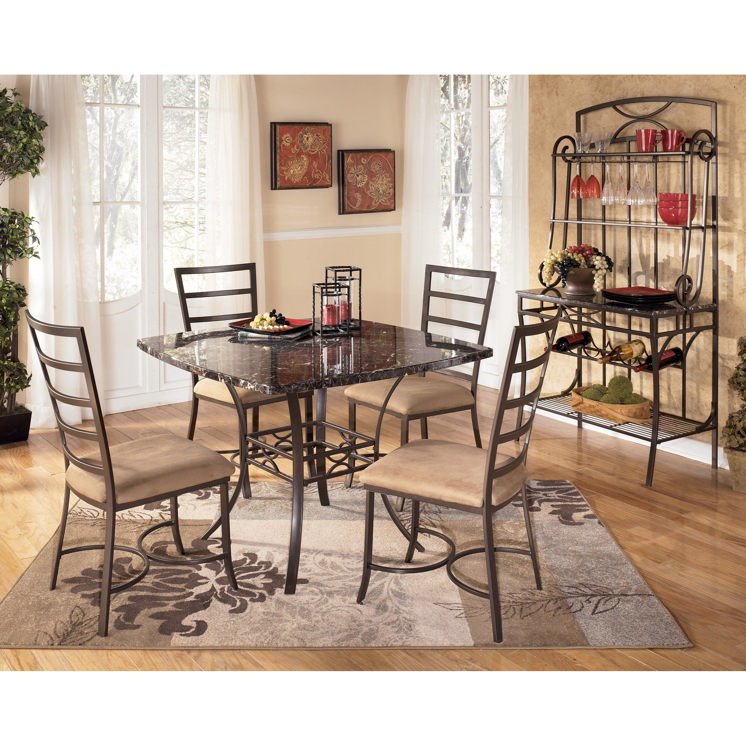 5 PC Faux Marble and Metal Dining Room Set - Table top made with faux marble with a durable p ...