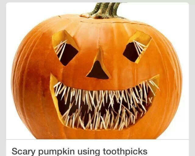 scary pumpkin w toothpicks