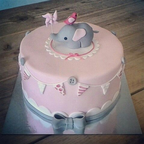 Fondant Elephant Baby Cake Birth Or First Birthday Girl