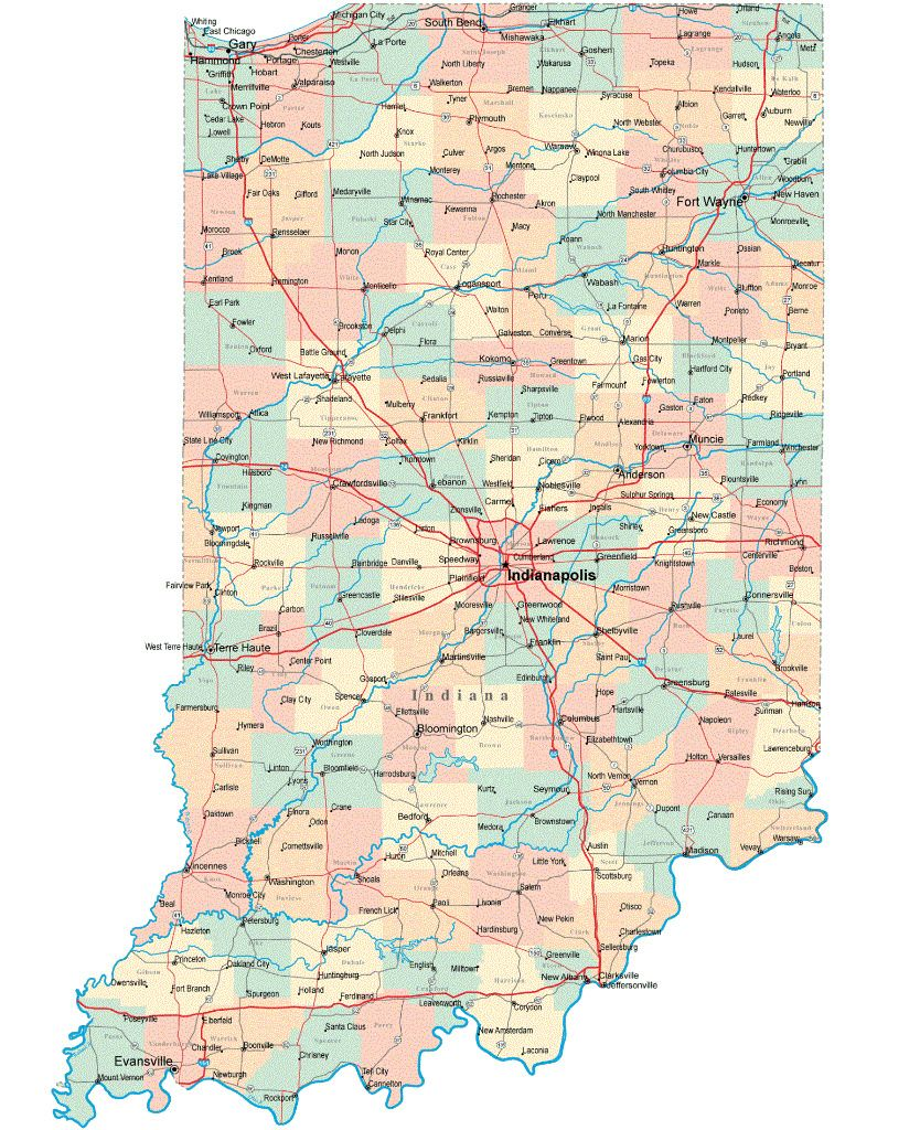 INDIANA STATE ROAD MAP GLOSSY POSTER PICTURE PHOTO city ...