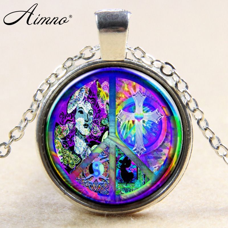 Hiphop hippie alooy and glass pendant necklace long chain silver hiphop hippie alooy and glass pendant necklace long chain silver plated necklaces b145 aloadofball Choice Image