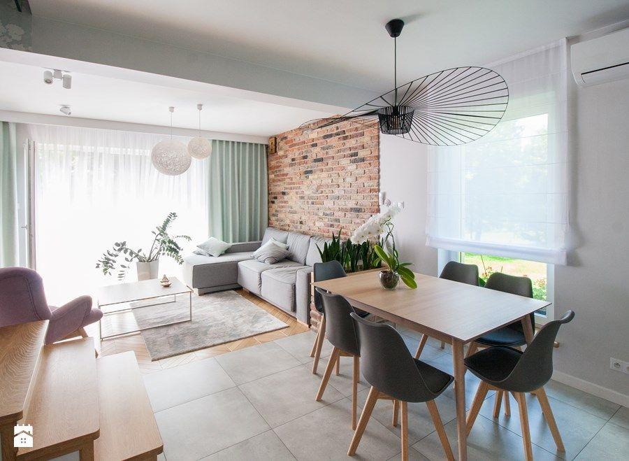 Projekt Domu Szeregowego średni Salon Z Jadalnią Styl